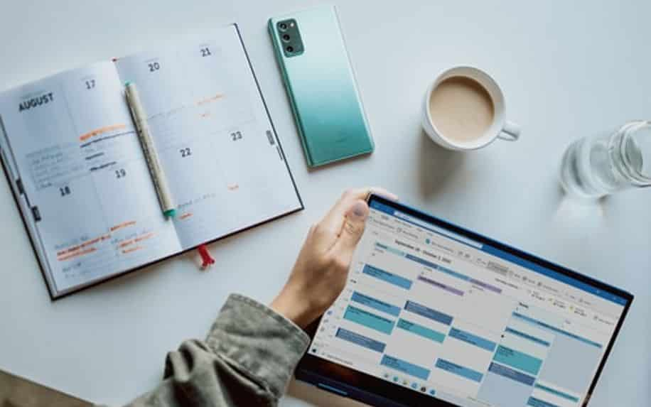 diary planner and editorial calendar