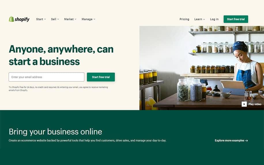 Shopify ecommerce solutions screenshot