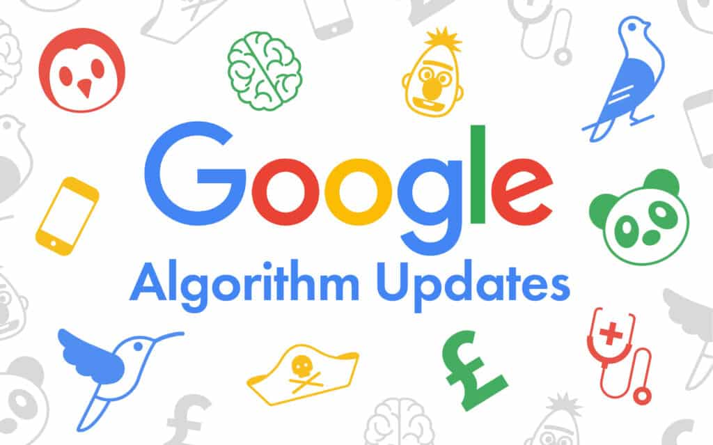 Featured image for ProfileTree Google Algorithm Updates article showing the google logo and icons of the various updates in google colours red, blue, green and yellow.