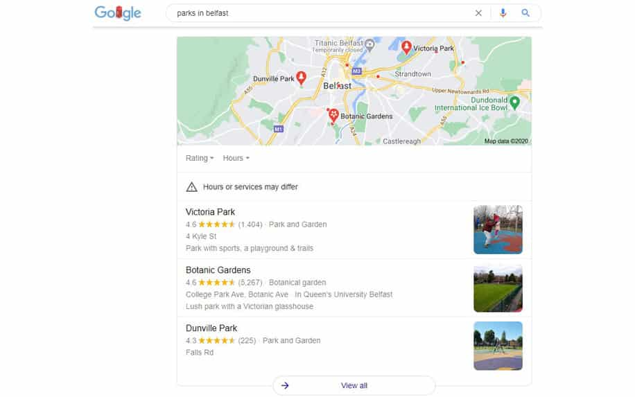 """an example of a google local pack for """"parks in Belfast"""""""
