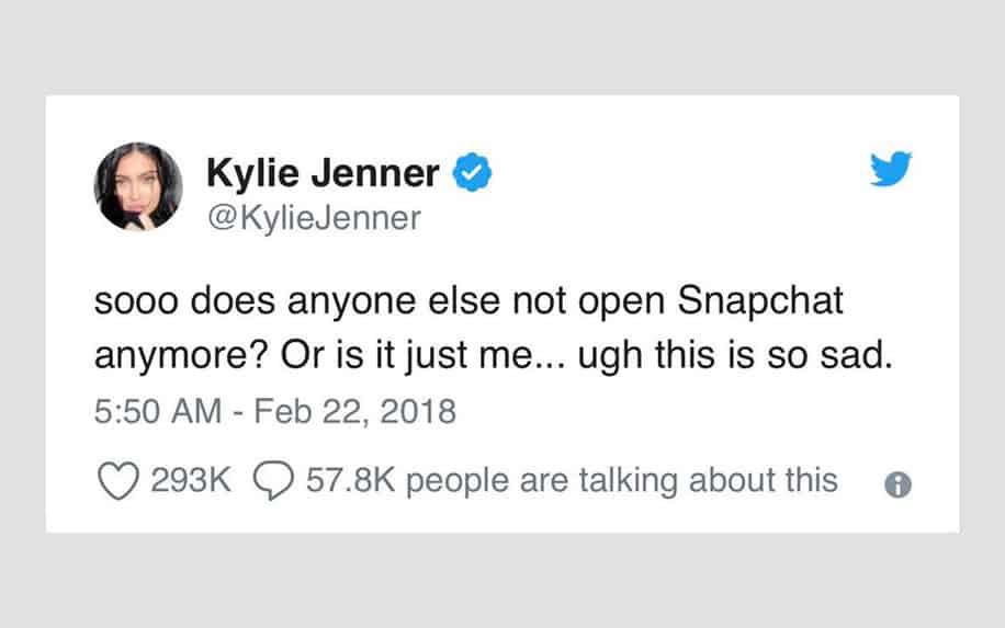 Kylie Jenner Snapchat advertising tweet screenshot.