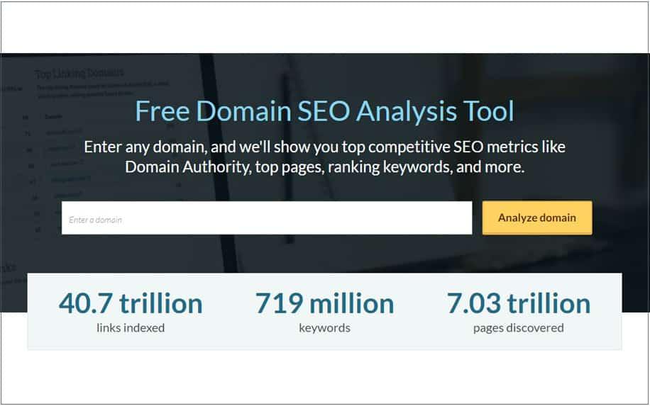 Free domain seo analysis on moz