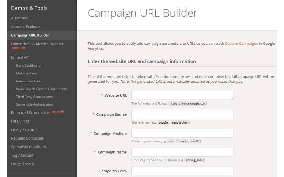 The URL builder provided by Google for UTM tracking
