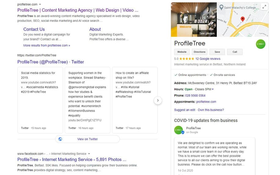 An example of a well optimised Google My Business listing