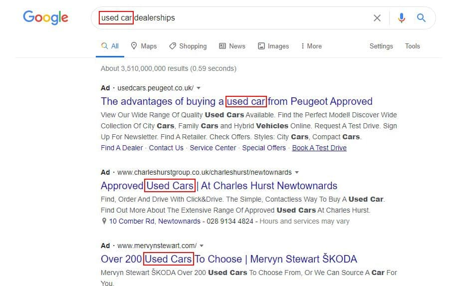Keyword example in google search