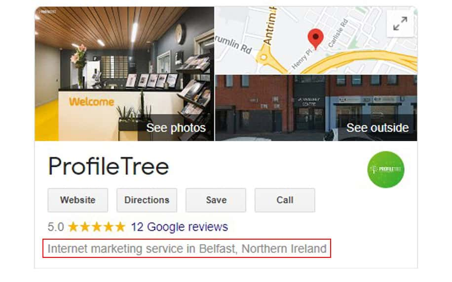 Label example in Google My Business