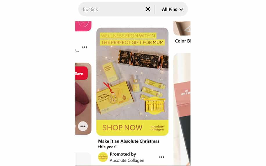 Pinterest product ad example