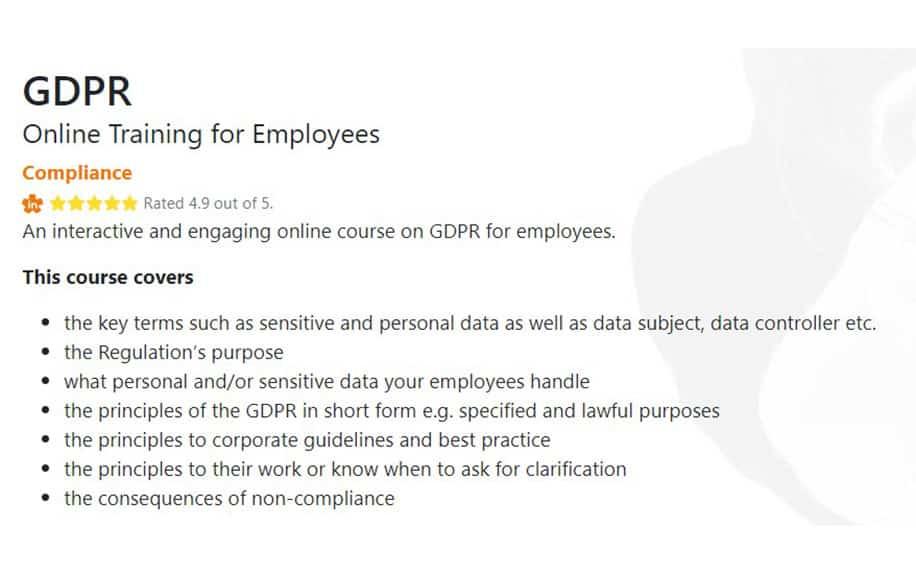 GDPR Foundation syllabus screenshot