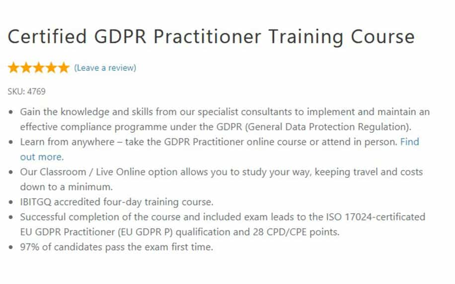 GDPR training for practitioners syllabus