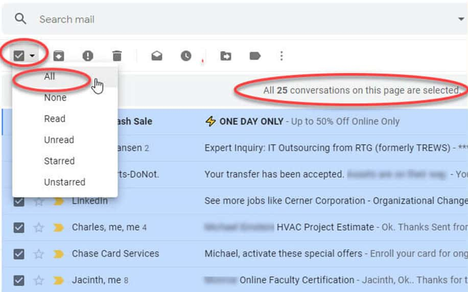 Mass select in Gmail screenshot
