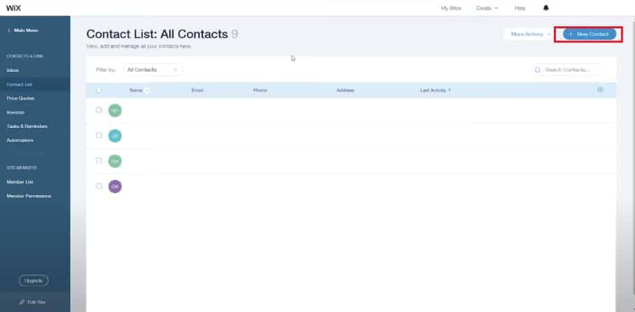 WIX and Mailchimp screensot