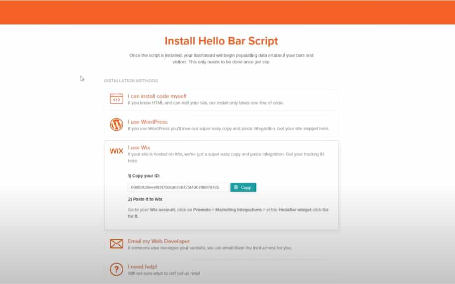 Hello bar script screenshot