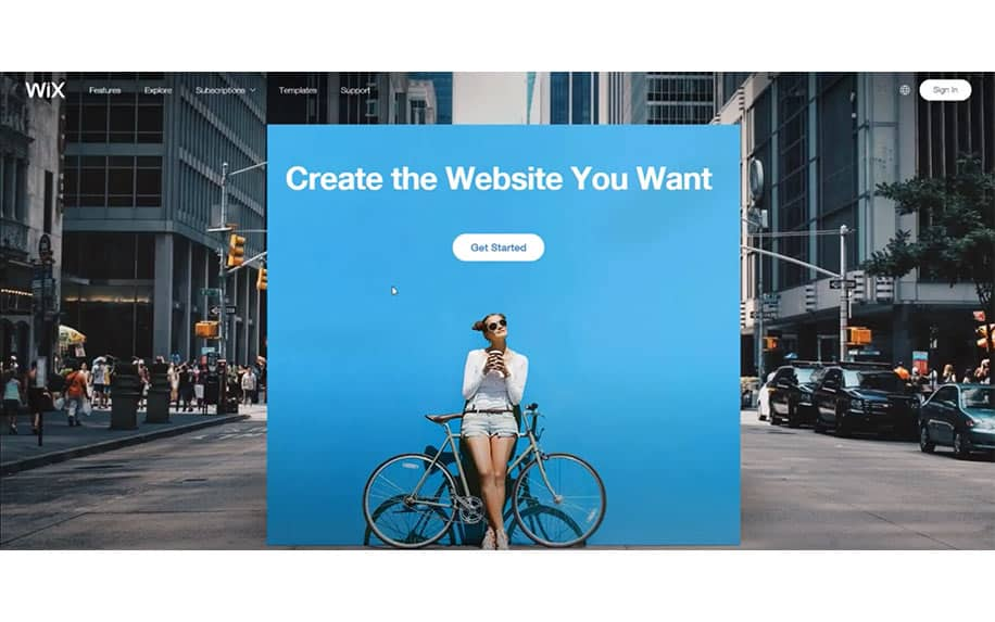 building a website with WIX screenshot