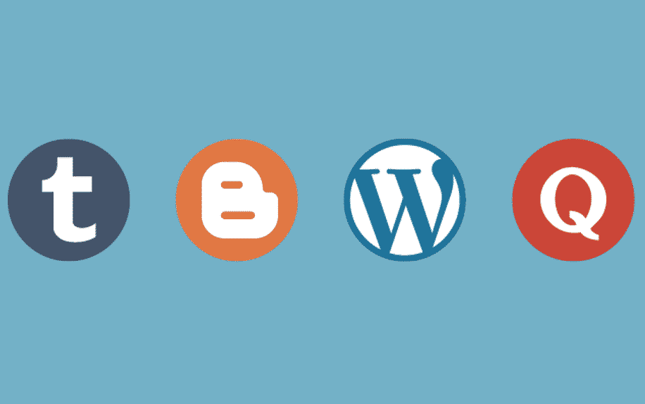 four icons of different blogging sites