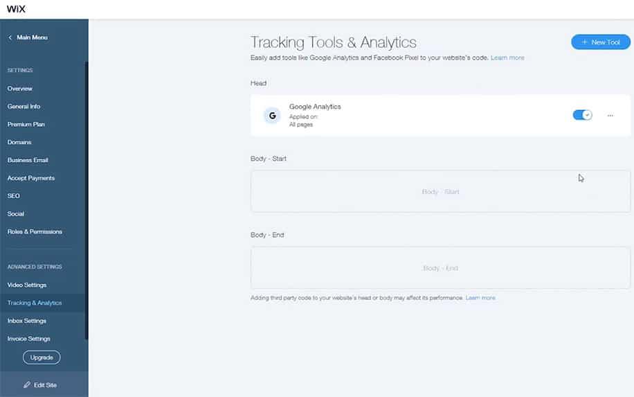Managing tracking tools in WIX screenshot