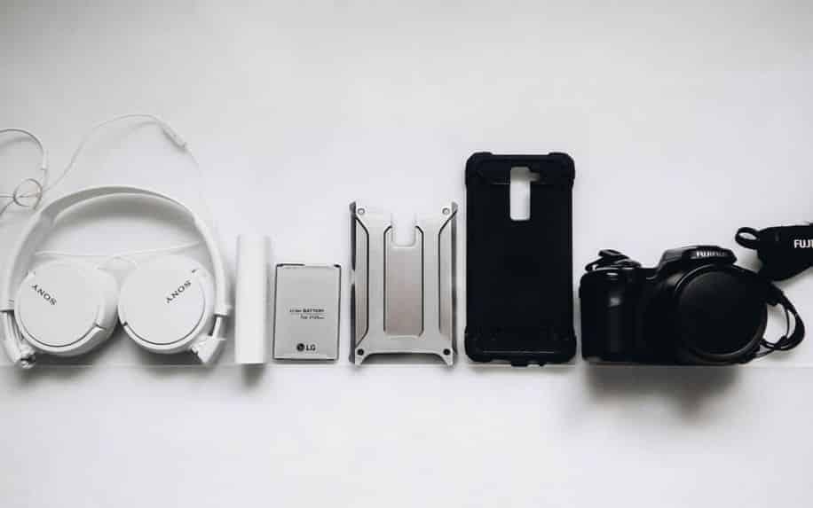 range of tech equipment from headphones to camera