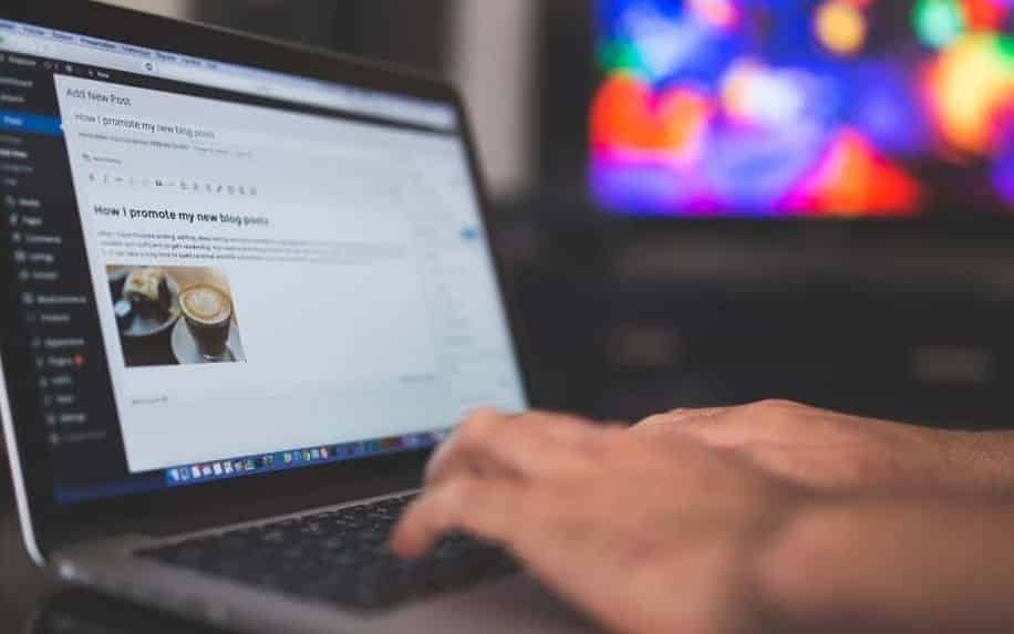 blogging on a laptop