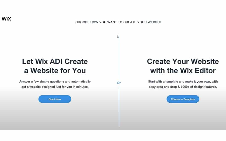 Create a WIX website from scratch with ADI or editor