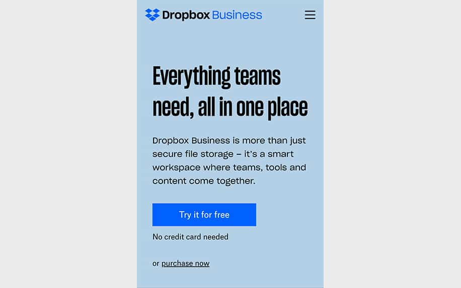 DropBox mobile screenshot