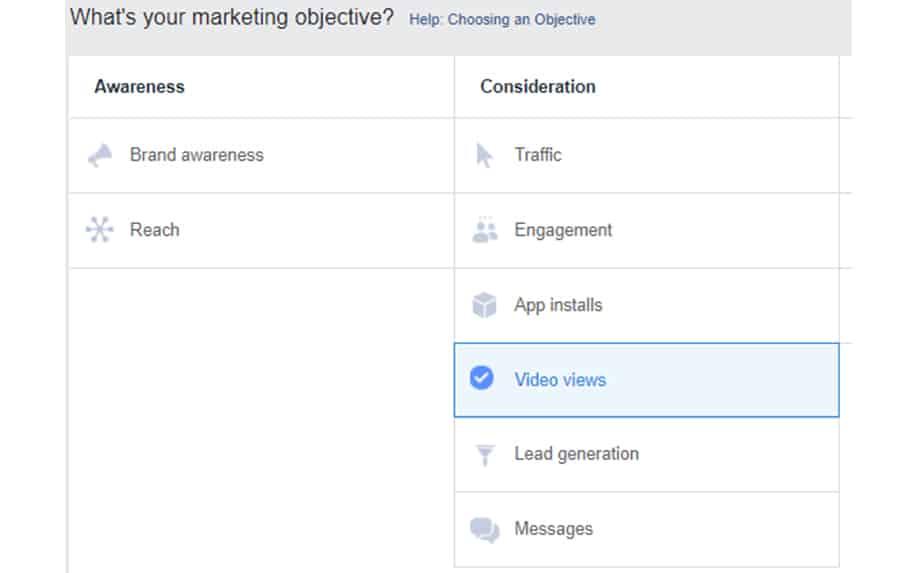 Choosing a marketing goal for online learning screenshot