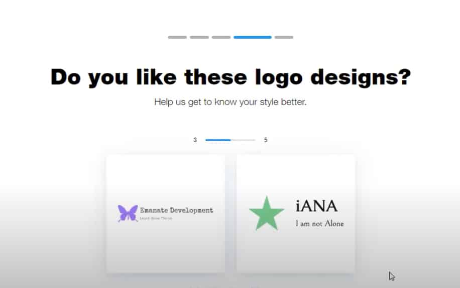 WIX logo maker sample screenshot