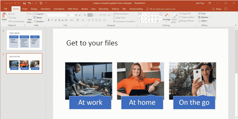 PowerPoint presentation- SmartArt