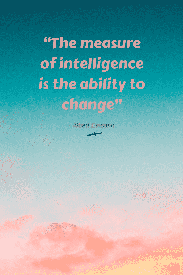 """1""""The measure of intelligence is the ability to change"""" -Albert Einstein"""