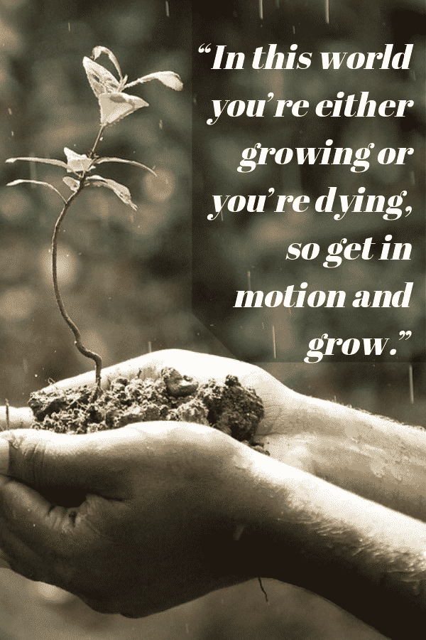 """In this world you're either growing or you're dying, so get in motion and grow."" - Lou Holtz"