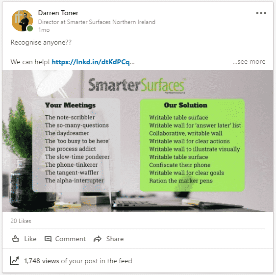 Smarter Surfaces NI for LinkedIn posting blog