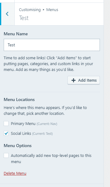 Adding links to your menu