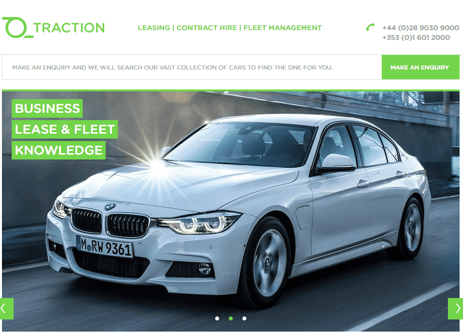 Traction Finance. Why rebrand reason. White BMW driving on road