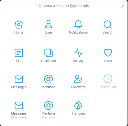 TweetDeck column setup