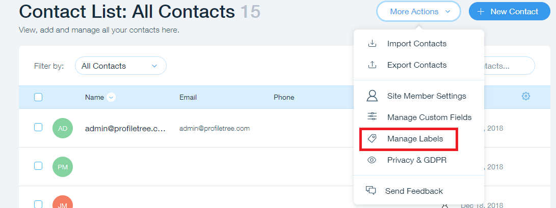 How to access contact labels on your WIX site
