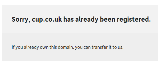 cup.co.uk is unavailable
