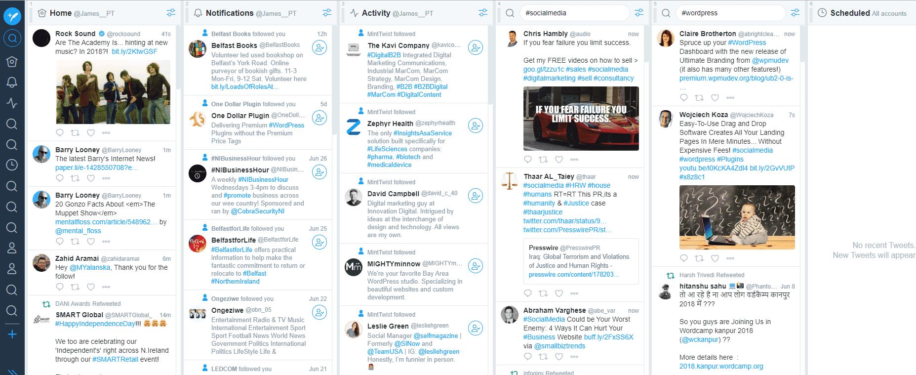 TweetDeck dashboard