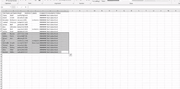 Editing your exported contacts on Excel
