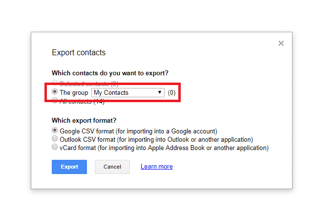Google Export Contacts example