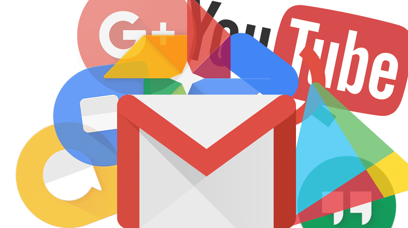 Gmail logo surrounded by other Google logos