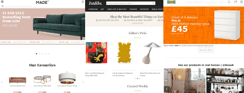 Furniture sites home pages examples