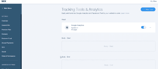 How to manage tracking tools on WIX