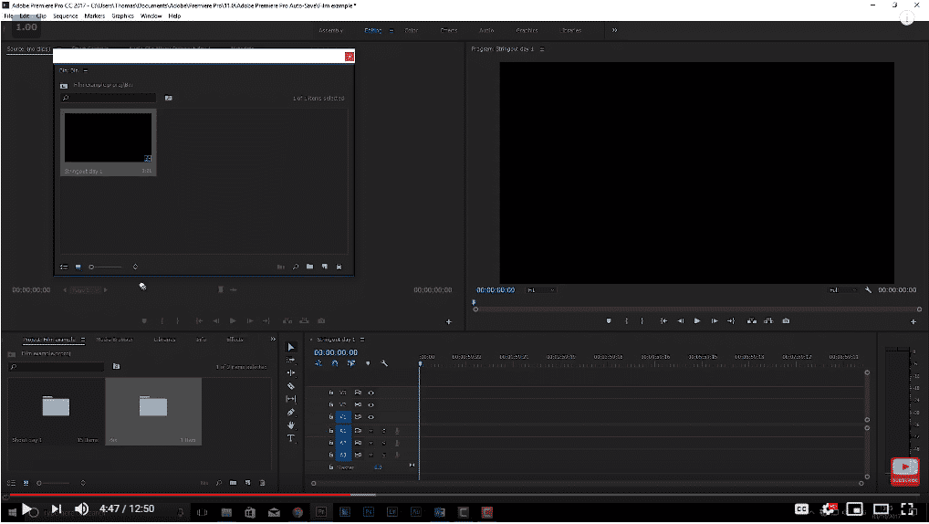 Example of the premiere pro dashboard