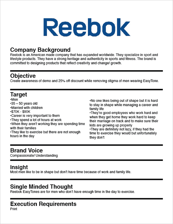 How to write a creative brief-Reebok Example
