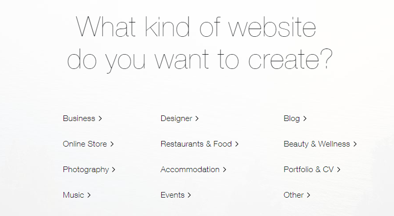 Wix ADI - Categories offered on Wix Website