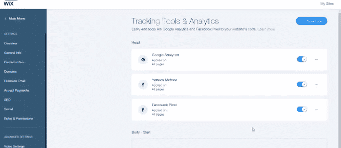 WIX tracking tool examples