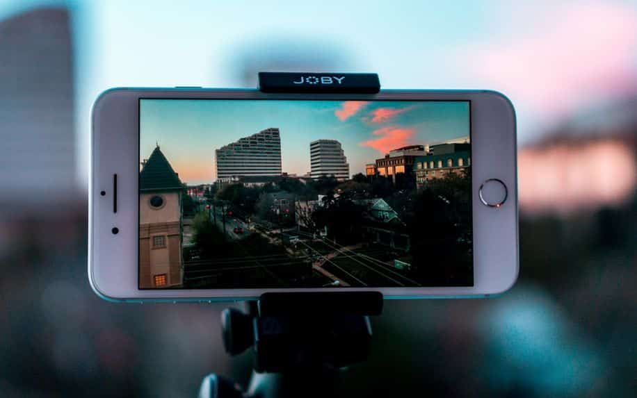 iPhone recording on a tripod