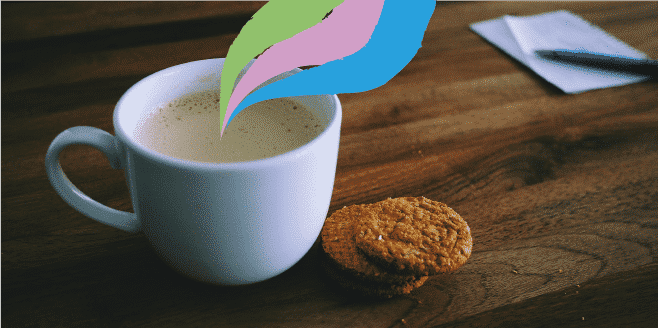 cup of tea on desk with two biscuits, with colourful waves (green, pink, blue) coming out of cup