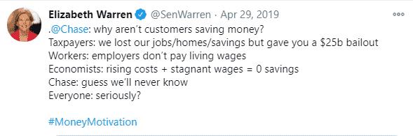 Elizabeth Warren's response to Chase's tweet from 29/04/2019.