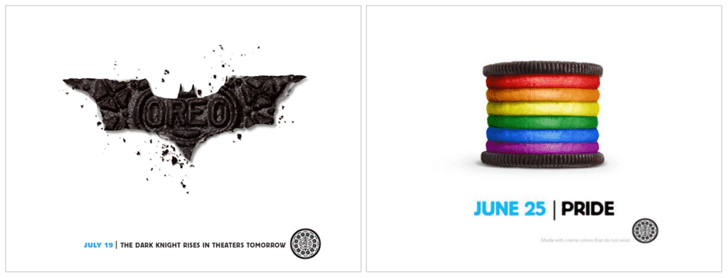 Oreo's collaborations with Pride Month and new Batman movie release to stay relevant.