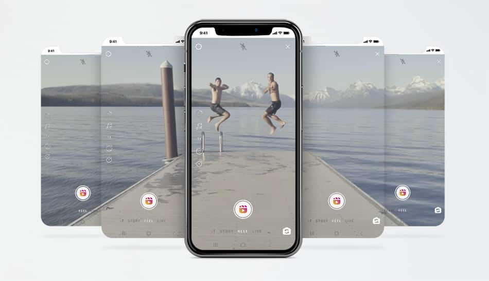 Five phones showing different clips of two people jumping into water