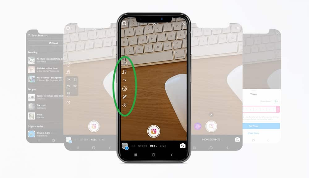 Phone camera with a keyboard in frame and a green circle at the left-hand side of the screen showing the editing tools icons
